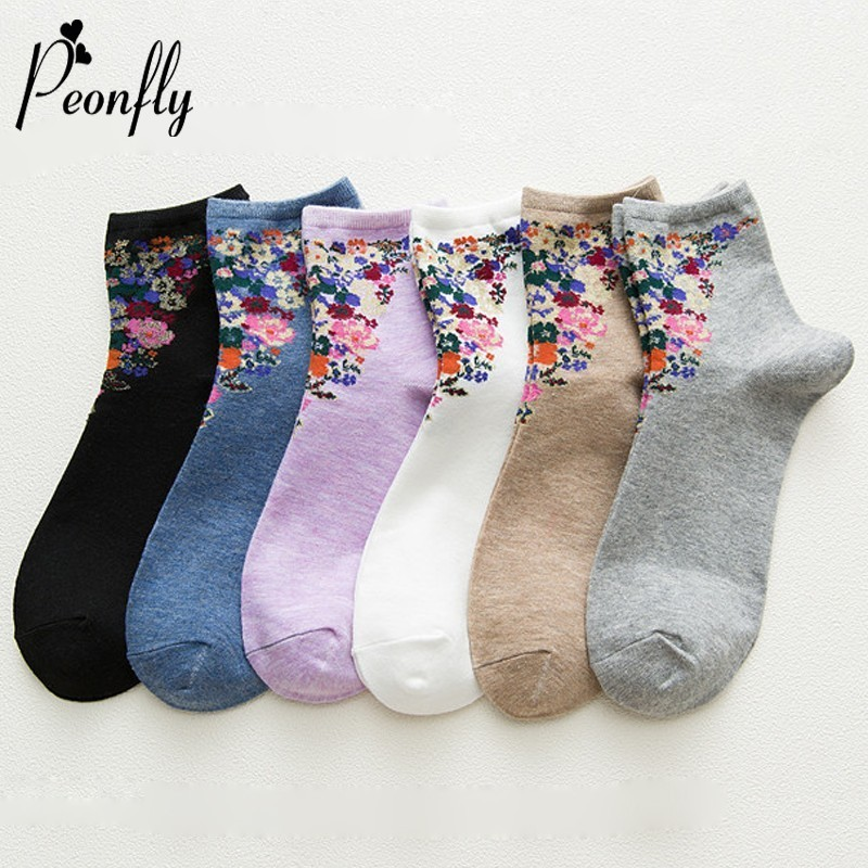 PEONFLY Autumn Woman Fashion Originality Personality Printing Vintage Flowers Socks Casual Ventilation Cotton Short Socks Female