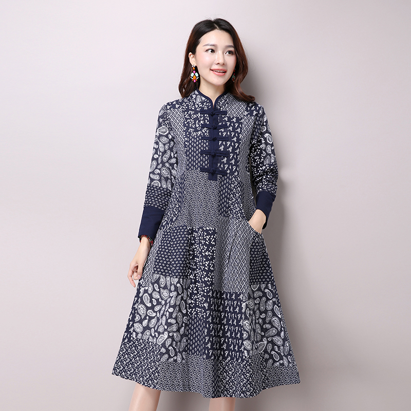 Autumn New Womens National Wind Casual Long Sleeve Cotton Linen Dress Plus Size Long Linen Dresses Bule Color Floral Print
