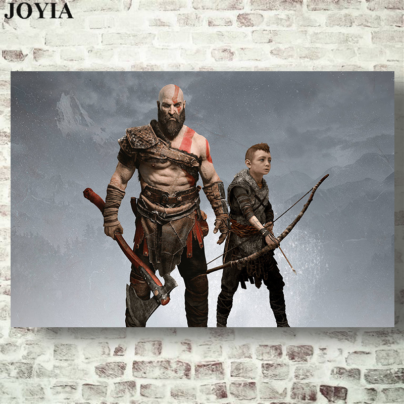 Kratos Atreus God of War Poster Prints Video Game Wall Art Picture Room Decor 24x36 20x30 Inch