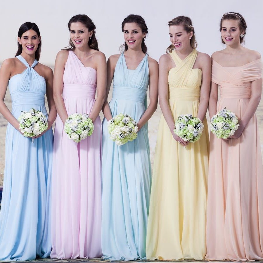 2016 Elegant 5 Style Criss Cross Pastels Y Chiffon Sleeve Bridesmaid Dresses For Weddings Custom Dress In From