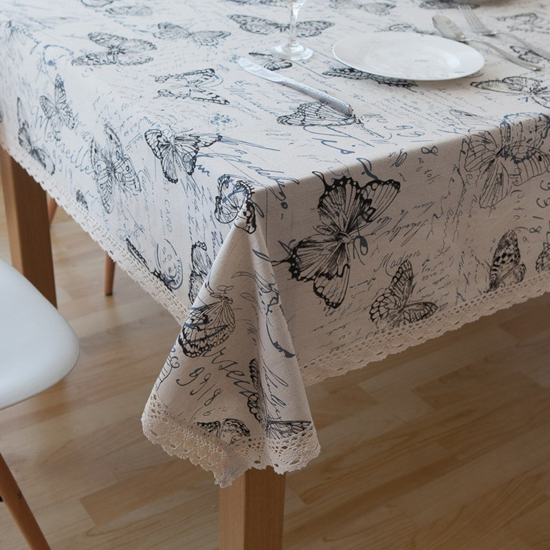 Butterfly Printing Decorative Table Cloth Cotton Linen Lace Tablecloth Dining Table Cover For Kitchen Home Coffee Bar Decoration in Tablecloths from Home Garden