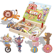 Wooden Magnetic Puzzle Toys Children 3D Figure/Animals/ Vehicle /Circus Drawing Board 11 styles Box Educational Toy Gift