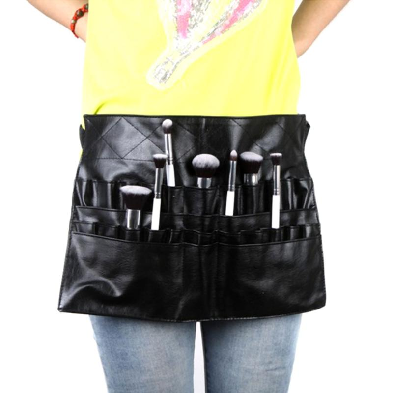 цена Black Two Arrays Makeup Brush Holder Professional PVC Apron Bag Artist Belt Strap Protable Make Up Bag Cosmetic Brush Bag в интернет-магазинах