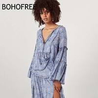 BOHOFREE Flare Sleeve V Neck Floral Gypsy Women Blusas Boho Tops Mujer Loose Plus Size Blouses Female Street Shirts Holiday Tops