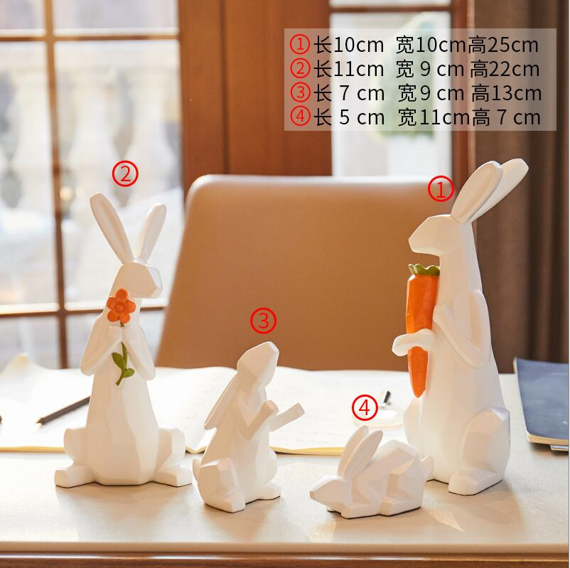Cute family of 4 Modern minimalist animal ornaments Cute children room soft decorations Living room home TV cabinet display - 4