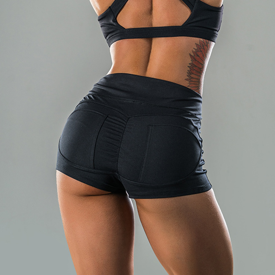 women's big booty sport yoga shorts high waist push up gym