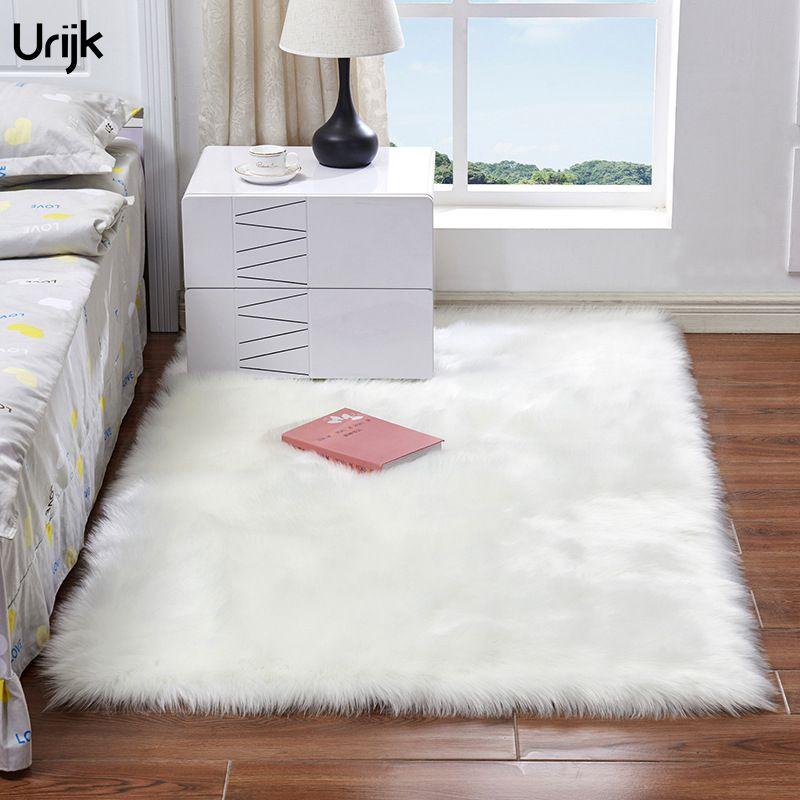 Urijk Soft Shaggy Carpet Plush Floor Rugs Fluffy Mats Kids Room Faux Fur Area Rug Bedroom Mats Silky Rugs Living Bed Room
