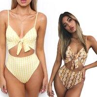 2018 One Piece Swimsuit Women Bathing Suit Halter Swimwear Bodysuit Floral Piece Swimwear Beach Swimming Suit