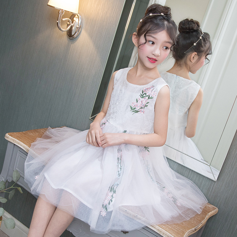 Embroidery Girl Dress Summer Princess Dresses 2018 New Fashion Kids Dresses 3 4 5 6 7 8 9 10 11 12 Years Big Girl Clothes baby children girl princess dress 2018 new 3 4 5 6 7 8 9 10 11 12 year summer flower girls dress sleeveless fashion kids clothes