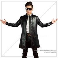 Mężczyźni Moda Zima Czarny Pu Skórzanej Kurtki męskie Długie Nocny Wysokiej Jakości Koreański Mężczyzna Rock Piosenkarka Kostium W Stylu Punk płaszcz