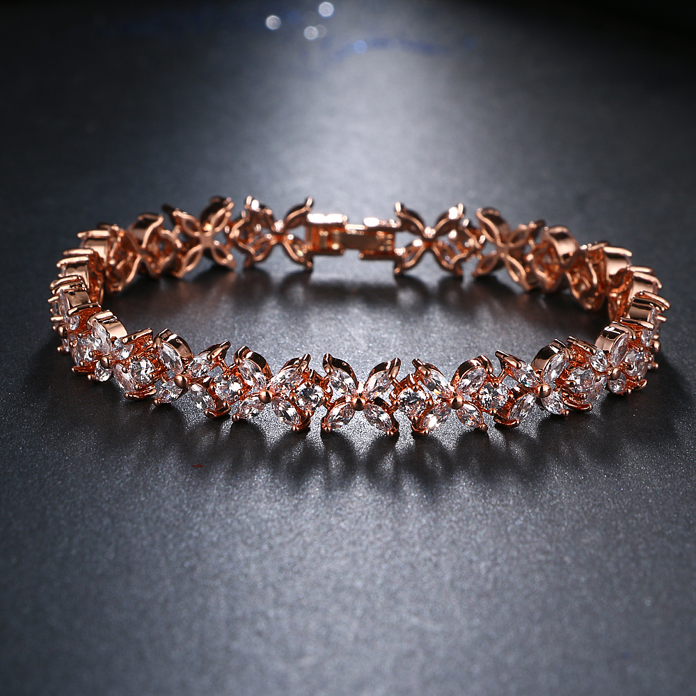 aeacc5b3a5 Fashion Flower Design Cubic Zircon Bracelets Luxury Wedding Bracelet Women  Gift - Bracelet Wear