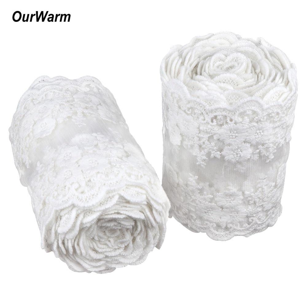 OurWarm 1m fehér csipke szövet Ruházat varrás szövet DIY kiegészítők kézműves 1m hosszú 11cm szélesség