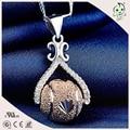 Delicate Rose Gold 925 Sterling Silver Slide Ball Necklace Pendant