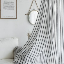 Simple Stripes Clear Window Drapes Tulle Curtains Nordic Style Home Decor Valance Living Room Window Curtains Salon For Bedroom
