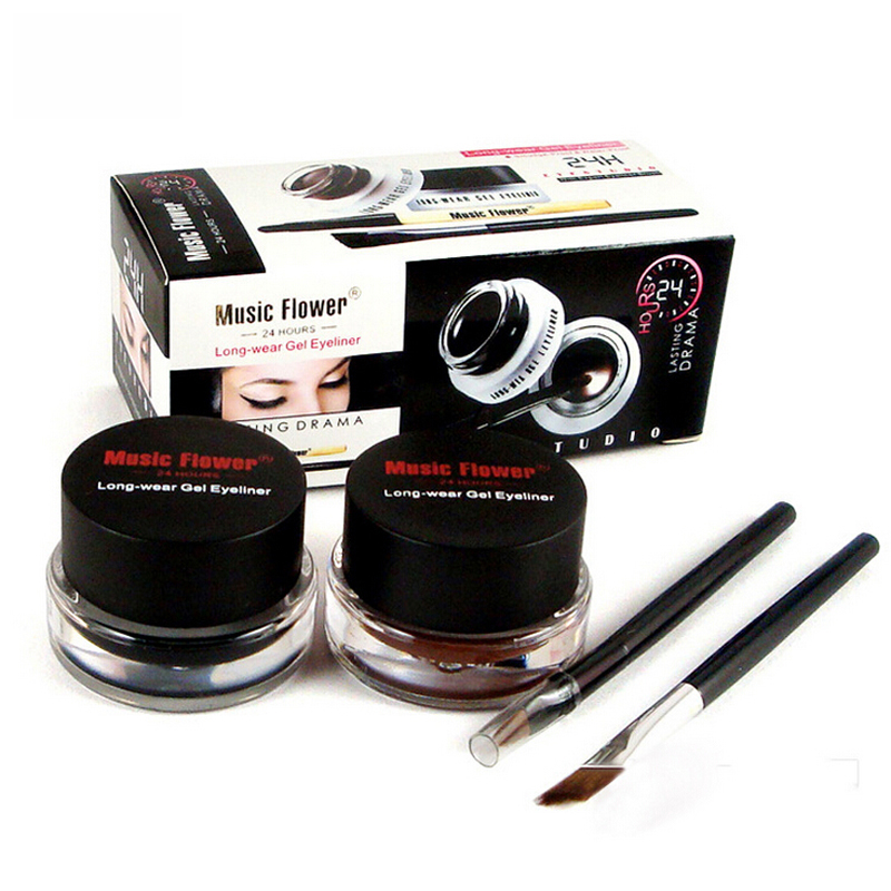 Marke Braun + Schwarz Gel <font><b>Eyeliner</b></font> Make-Up Wasserdicht Wisch-proof Kosmetik Set Eye Liner Make-Up + 2 Make-Up pinsel image