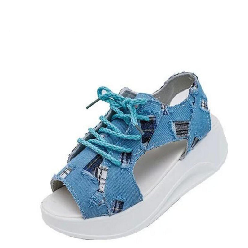 Students female sandals fashion 2017 fish mouth shoes denim girl with thick bottom wedges sponge soles casual and comfortable point systems migration policy and international students flow