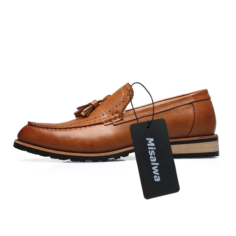 Slip Misalwa Luxe En Cuir on Noce Marque Mocassin Black Brown yellow Occasionnels Brown Gland Penny Mocassins Noël Pour Robe Hommes red Chaussures De rSZnaXS