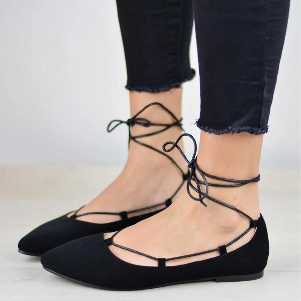 Dentelle khaki 2019 Simples Chaussures gray En Pu Cuir Casual Plates Dames Solide Pointu Peu Bouche Printemps up Profonde Bout Black Femmes qqRr6nS