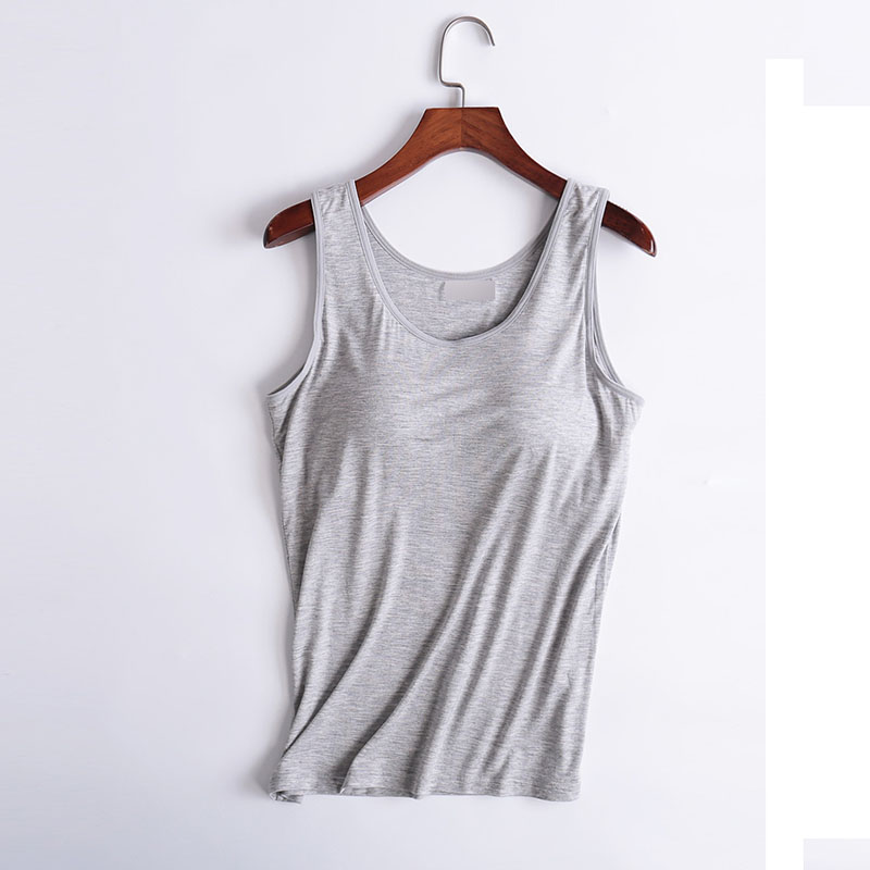Ladies's Tank Tops Modal Breathable Garments Health Horny Summer time Vest Strap Constructed In Bra Padded Bra Modal Tank High Camisole