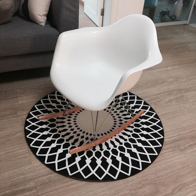 Zwart Wit Moderne Vloerkleed Matten Ronde Voor Woonkamer Decoratie ...