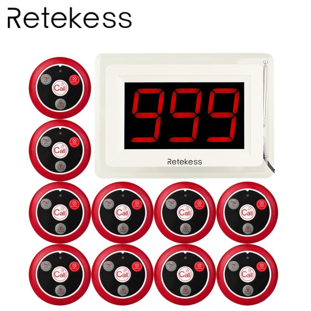 Système d'appel téléavertisseur sans fil RETEKESS 433MHZ pour infirmière serveur de Restaurant avec rapport vocal 1 affichage hôte + 10 cloche de Table F4400B