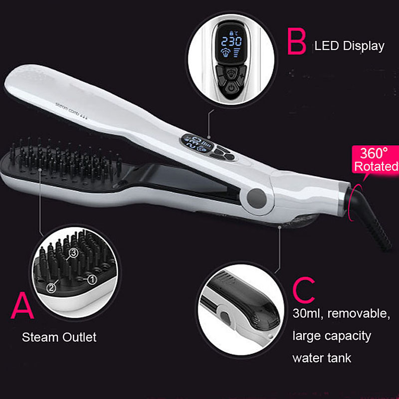 USHOW Hair Straightener Brush With LCD Display Electric Steam Hair Straightening Iron Comb With LCD Display titanium plates hair straightener lcd display straightening iron mch fast heating curling iron flat iron salon styling tools