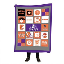 Clemson Tigers Pringting Sherpa Throw Blanket World Map Vivid Printed Fleece Super Soft Cozy