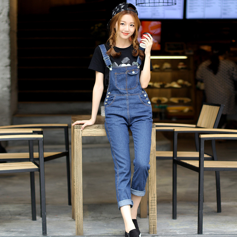 b91c5dfcd4a 2015 New Free shipping Plus size Korean New Womens Jumpsuit Denim Overalls  Casual Skinny Girls overalls Pants Jeans