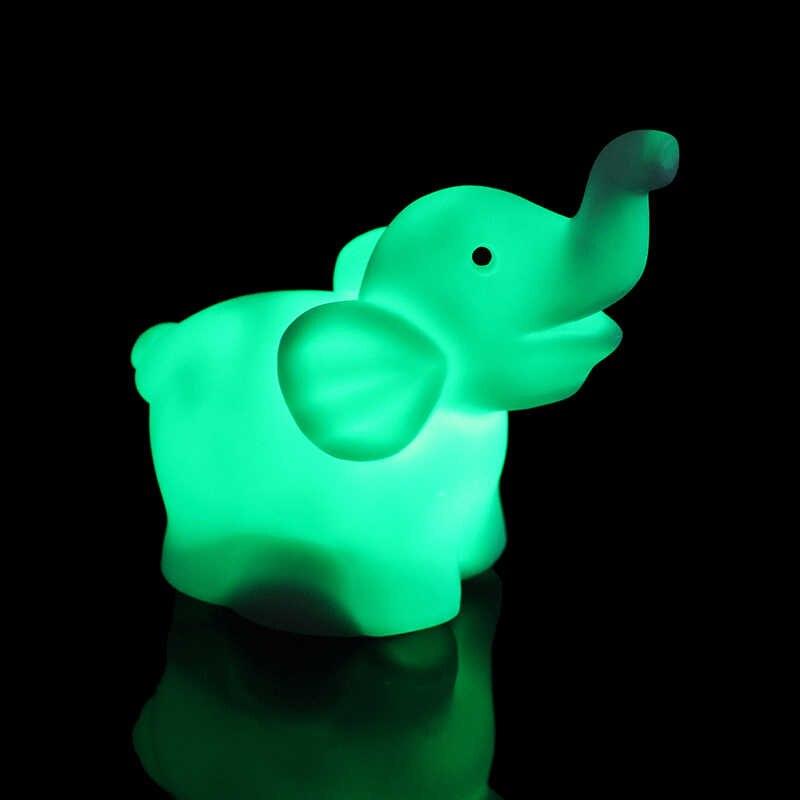 Candeeiro De Mesa Quarto do bebê Elefante PVC Mudando A Cor Da Lâmpada LED Night Light 7 Com Bateria Decoração Do Partido