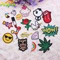 1 UNIDS Carta Rainbow Unicorn Patch Hierro En Parches Para La Ropa Pegatinas de Dibujos Animados Personalizados Para Niños Barato Bordado Parches Lindo Rosa