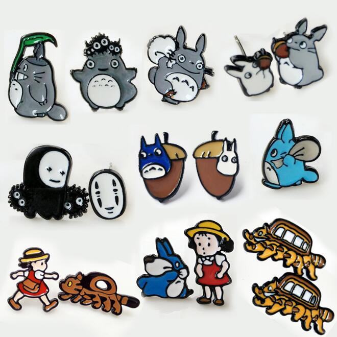 TOTORO Movie girl with cat Personality Asymmetric Small Earrings unisex ear stud Ear Ring earring anime