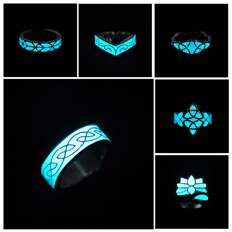 Glow In The Dark Ring Style Retro Can be Adjusted Geometric Mayan Mysterious Luminous Fluorescent Glowing Rings Stone For Women