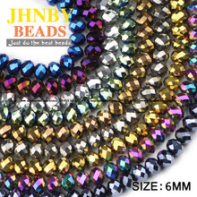 JHNBY Flat Round Shape Austrian crystals beads 6mm 50pcs High quality loose beads Plating ball bracelet necklace Jewelry DIY()