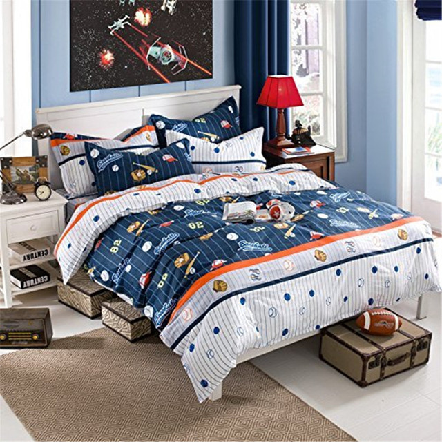 FADFAY Cotton Kids Boys Baseball Bedding Set Cartoon Duvet Cover Sets Full Size Children Comfortable Bed
