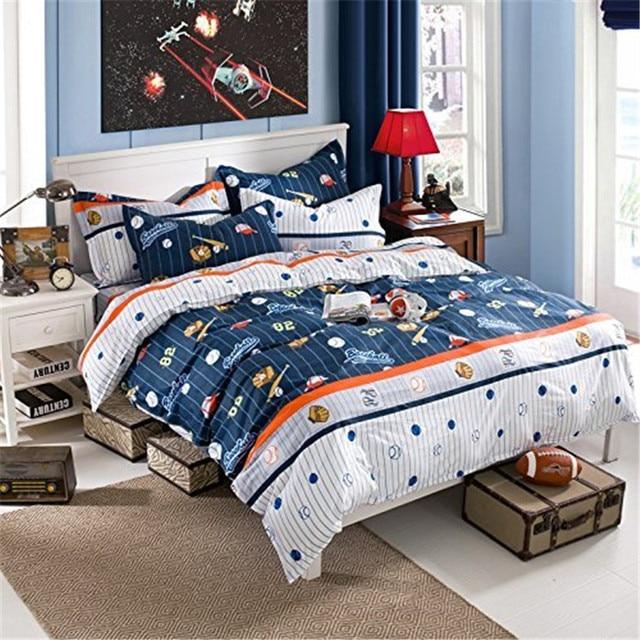 fadfay cotton kids boys baseball bedding set cartoon duvet cover sets full size children comfortable bed - Baseball Bedding