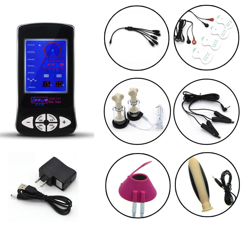 Électro choc Sex Kit jeux pour adultes mamelon de sein ventouse pinces Silicone grand Plug Anal Stimulation Massage Sex Toys pour Couples