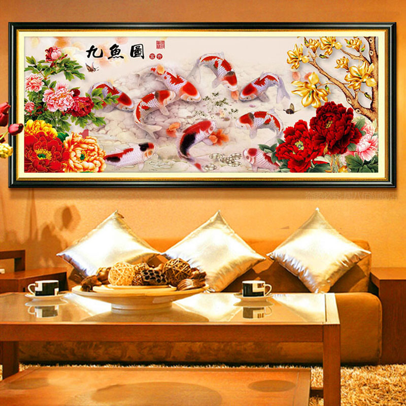 Golden Fish Diamond Embroidery Chinese Style Cross Stitch Vertebral Multi Sale Spinal Needlework DIY Painting Kit Area Highlight