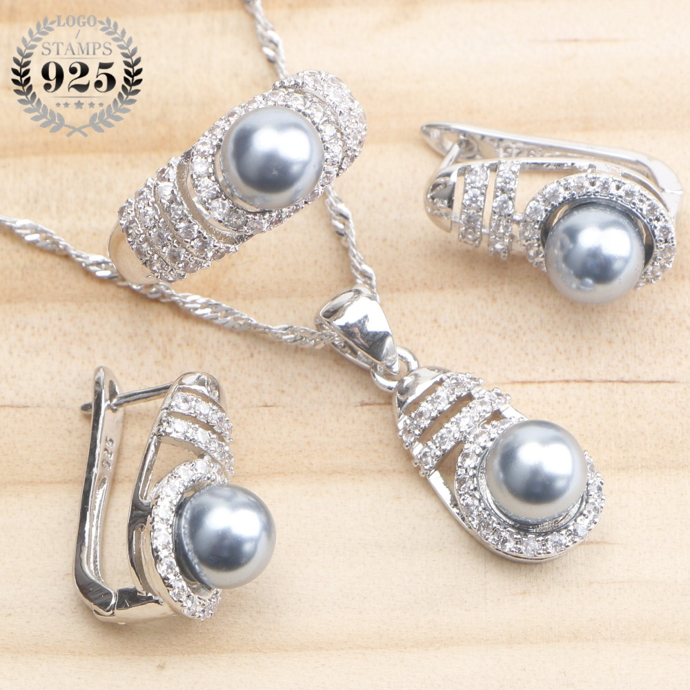 Pearl Jewelry Sets 925 Sterling Silver Wedding Jewelry Earrings For Women Bridal Pearls CZ Ring Pendant Necklace Set Gift BoxPearl Jewelry Sets 925 Sterling Silver Wedding Jewelry Earrings For Women Bridal Pearls CZ Ring Pendant Necklace Set Gift Box