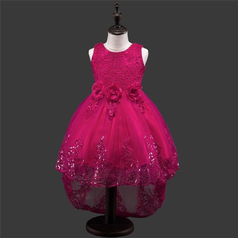 Это'ы YiiYa рукавов 5 цветов О-образным вырезом цветочным узором бантом Bling блестками Принцесса девушки цветка платье партии Pageant TS151