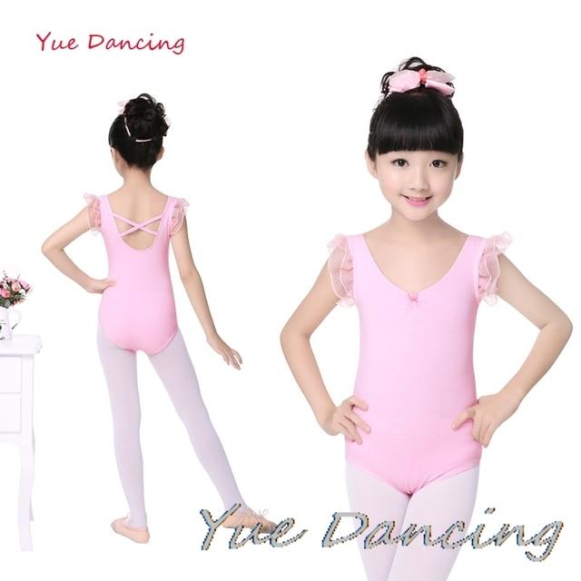 060569f8b5e1 Cotton Unitard Girls Pink Short Sleeves Dance Leotard Gymnastic ...