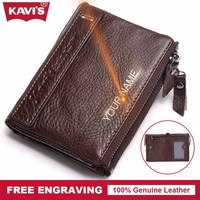 KAVIS Free Engrave Luxury Brand Men Wallets Male Coin Purse Fashion Vallet Portomonee PORTFOLIO Zipper Card