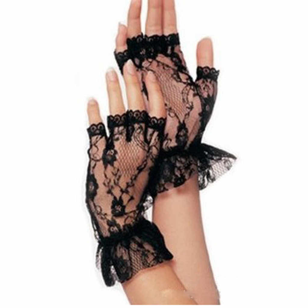 Ladies Short Black Lace Fingerless Gloves Net Goth Gothic Fancy Dress  Sunscreen mesh gloves guantes tacticos para hombre0.8