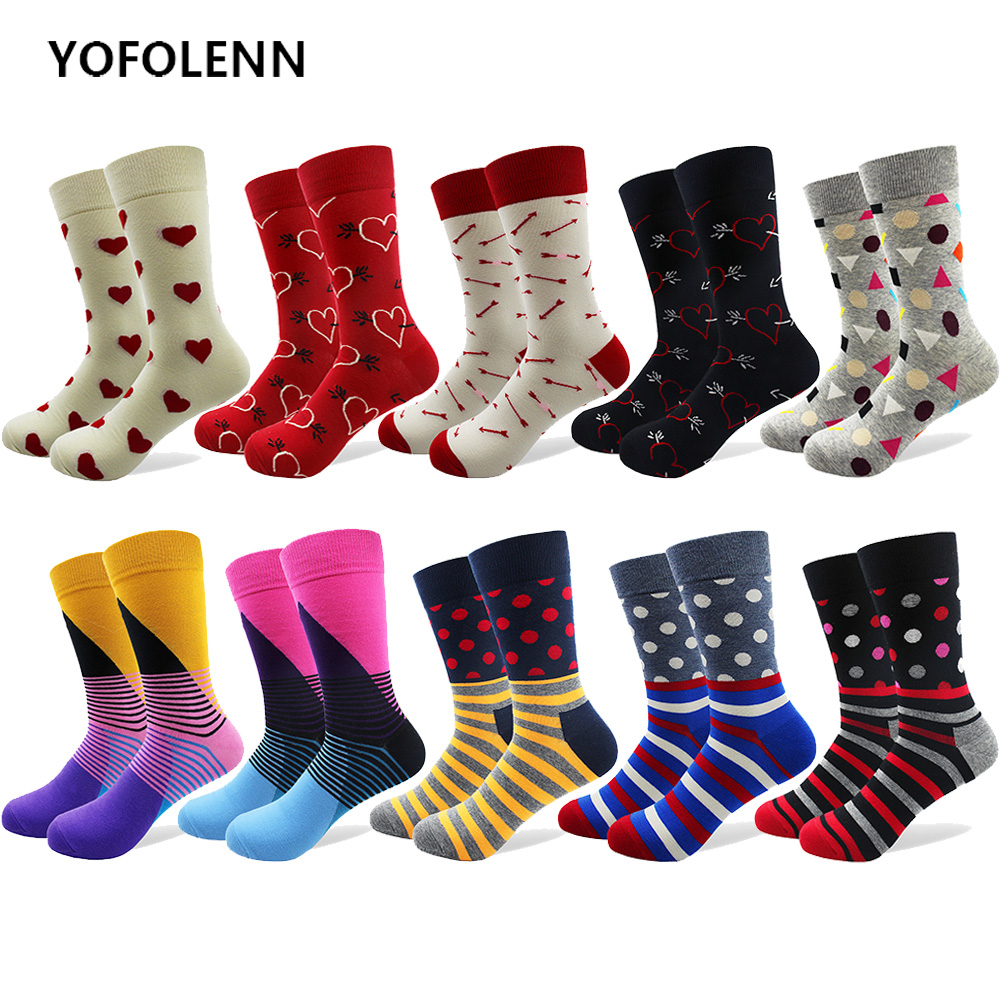 10 Pairs/lot Funny Mens Combed Cotton Socks Arrow Heart Dot Stripe Pattern Colorful Long Crew Cool Breathable Socks Happy
