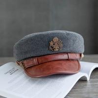 Xongkoro Lady Wool Military Hat Girls PU Navy Caps Flat Top Old Fashion Army Hat Grey Black Color For Women