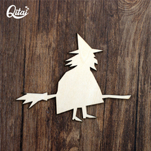 QITAI 12Pcs/lot AllHallowsDay party witch Wood Craft Wooden Shape Vintage DIY scrapbooking Veneer Products WF291