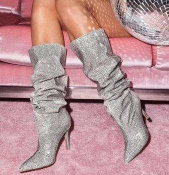 Moraima Snc Silver Crystal Embellished High Heel Boots Sexy Rhinestone Pointy Toe Stiletto Boots Woman Knee High Boots