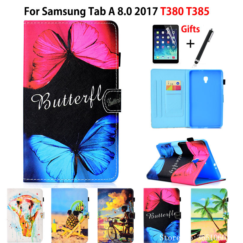 SM-T380 Case For Samsung Galaxy Tab A 8.0 T380 T385 2017 8.0 Inch Cover Funda Tablet Fashion Print PU Leather Shell