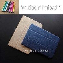 2016 Nuevo Caso de la Llegada para Xiaomi Mipad mi Cojín de seda 1 grano de múltiples funciones del tirón del soporte de LA PU Cubierta de la tableta de shell párr coque