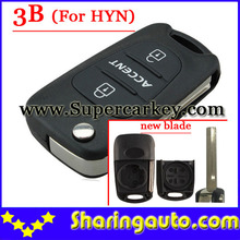 Free shipping 3 Button Flip Key Shell New Type for Hyundai Accent 10pcs/lot