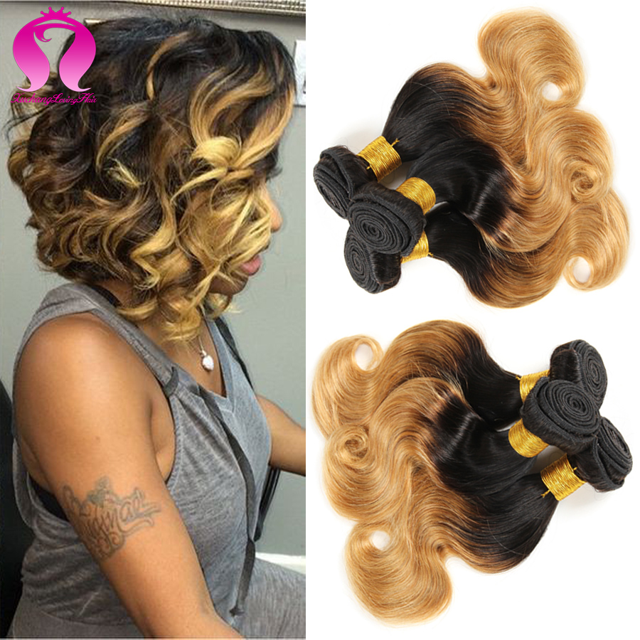 Buy Ombre Bob Human Hair Body Wave 3 Bundles Short